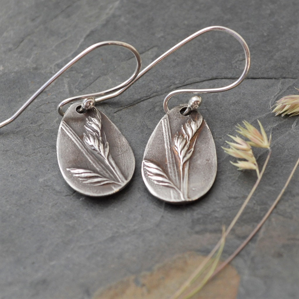 Tear Drop Earrings in Fine Silver, Buffalo Grass - Gayle Dowell