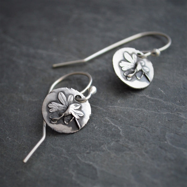 Geranium Leaf Earrings, Carolina Cranesbill Jewelry in Sterling Silver - Gayle Dowell