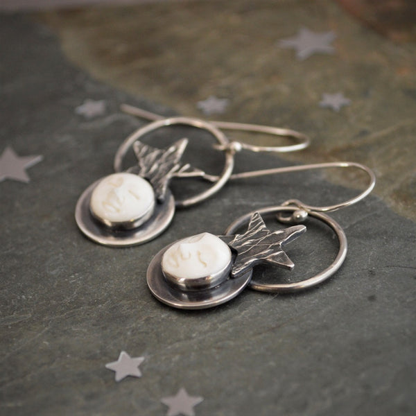 Moon and Star Earrings, Celestial Night Prairie Jewelry, Sterling Silver - Gayle Dowell