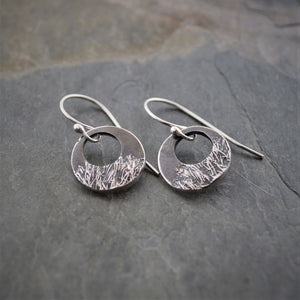 Botanical Hoop Earrings in Fine Silver Textured with Catclaw Sensitive Briar - Gayle Dowell