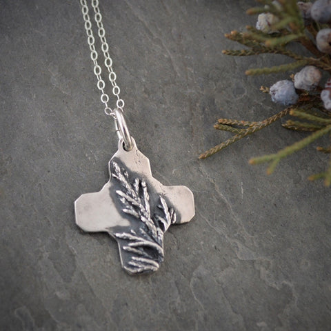 Cedar Cross Necklace, Fine Silver Pendant, Botanical Jewelry - Gayle Dowell
