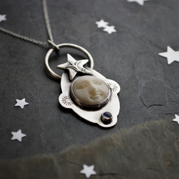 Celestial Moon and Star Necklace, Sterling Silver, Carved Bone and Rainbow Moonstone - Gayle Dowell