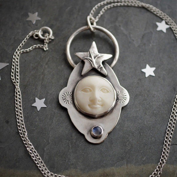Celestial Moon and Star Necklace, Sterling Silver, Carved Bone and Rainbow Moonstone