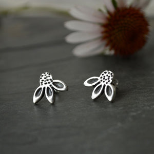 Flower Stud Earrings, Prairie Coneflower in Fine Silver - Gayle Dowell