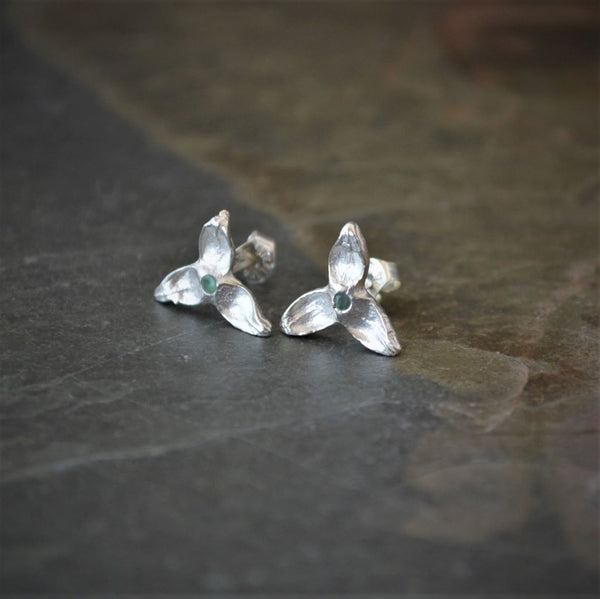 Silver Stud Earrings, Cottonwood Tree Seed Pods with Alexandrite Gemstone Centers - Gayle Dowell