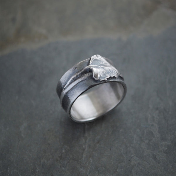 Cottonwood Tree Twig and Leaf Ring in Sterling Silver - Gayle Dowell