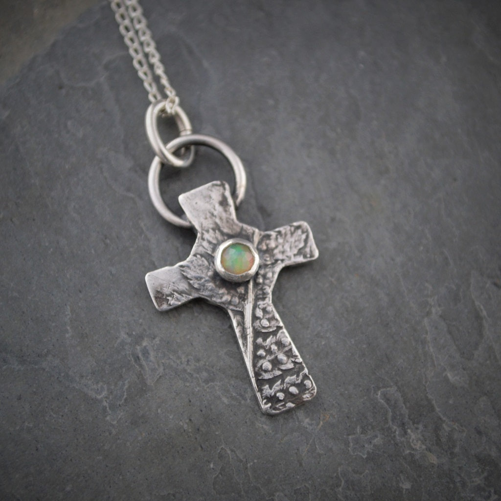 Fern Necklace, White Opal Gemstone Cross Pendant - Gayle Dowell