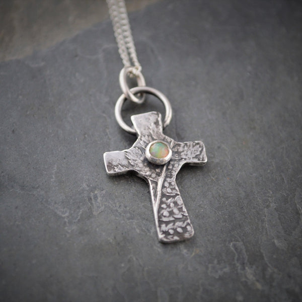 Fern Necklace, White Opal Gemstone Cross Pendant