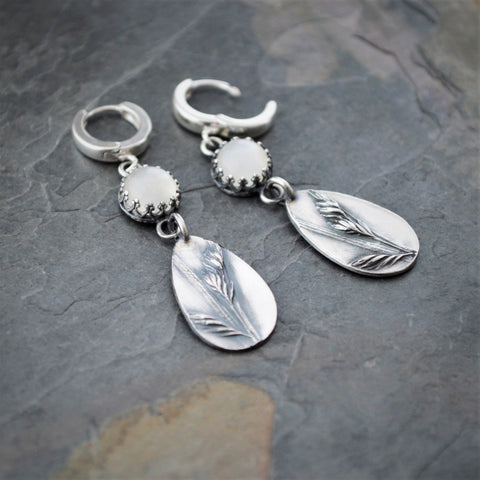 Prairie Grass Earrings with White Moonstone, Sterling Silver Buffalo Grass Jewelry - Gayle Dowell