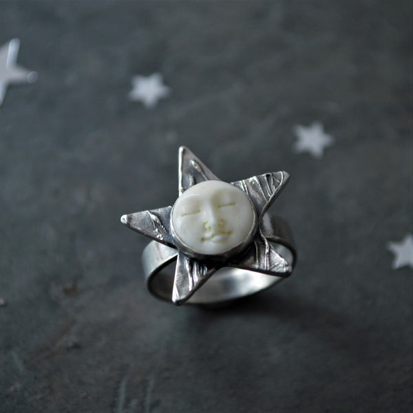 Moon and Star Ring, Carved Bone and Sterling with Prairie Ticklegrass, Size 7.5 - Gayle Dowell