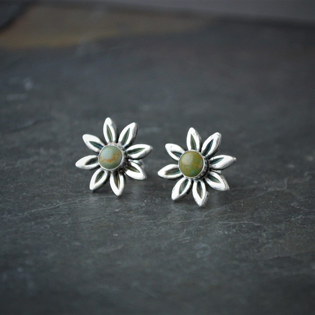 Daisy Stud Earrings, Kingman Turquoise and Sterling Silver - Gayle Dowell