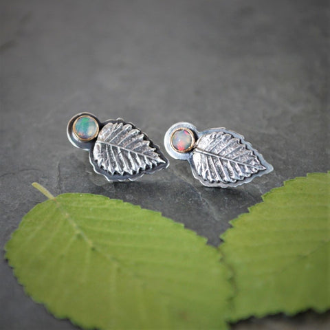 Elm Leaf Stud Earrings, White Opal Gemstone Jewelry, Sterling Silver and 14k Gold - Gayle Dowell