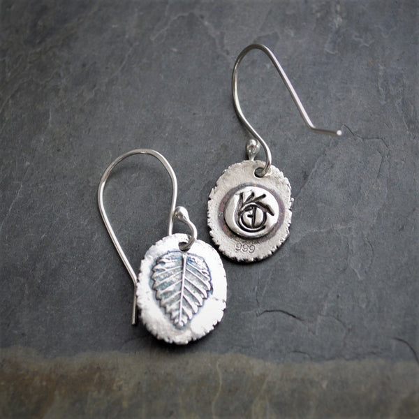 Elm Leaf Earrings in Raw Fine Silver, Artisan Handmade Jewelry - Gayle Dowell
