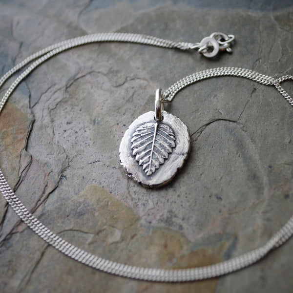 Elm Leaf Pendant Necklace in Fine Silver - Gayle Dowell