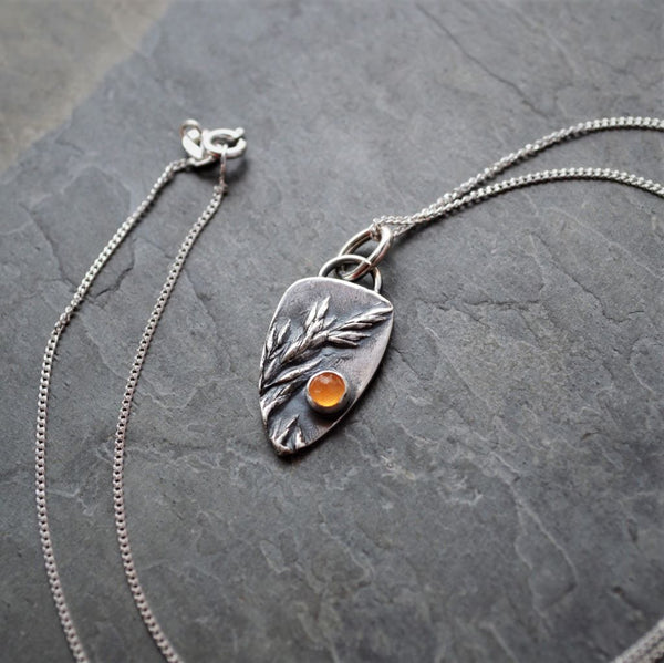 Ember Necklace in Fine Silver with Orange Carnelian Gemstone