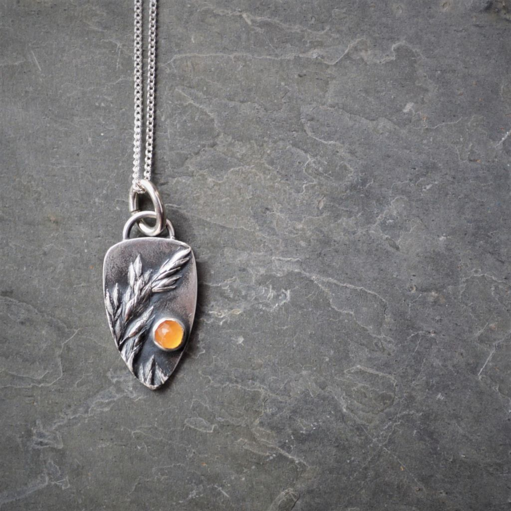 Ember Necklace in Fine Silver with Orange Carnelian Gemstone - Gayle Dowell