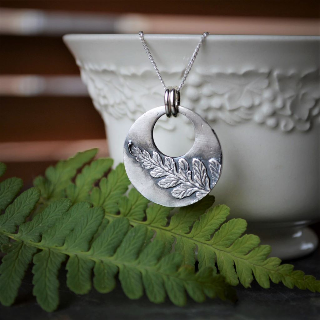 Fern Hoop Pendant, Woodland Necklace in Fine Silver - Gayle Dowell