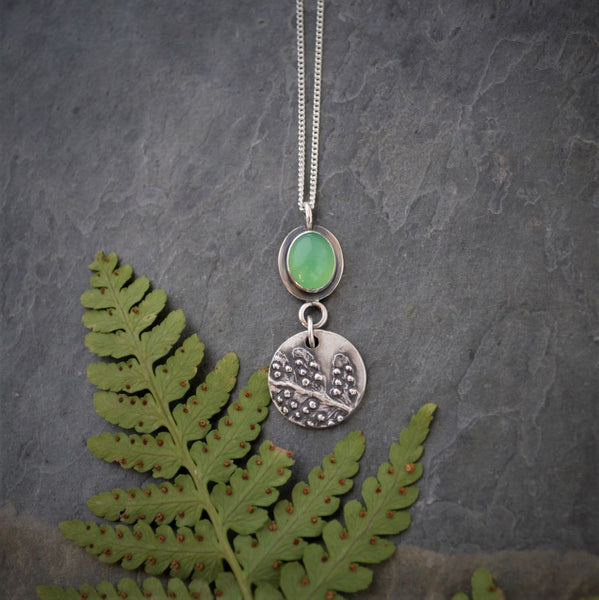 Fern Necklace with Chrysoprase Gemstone, Fine and Sterling Silver Pendant - Gayle Dowell