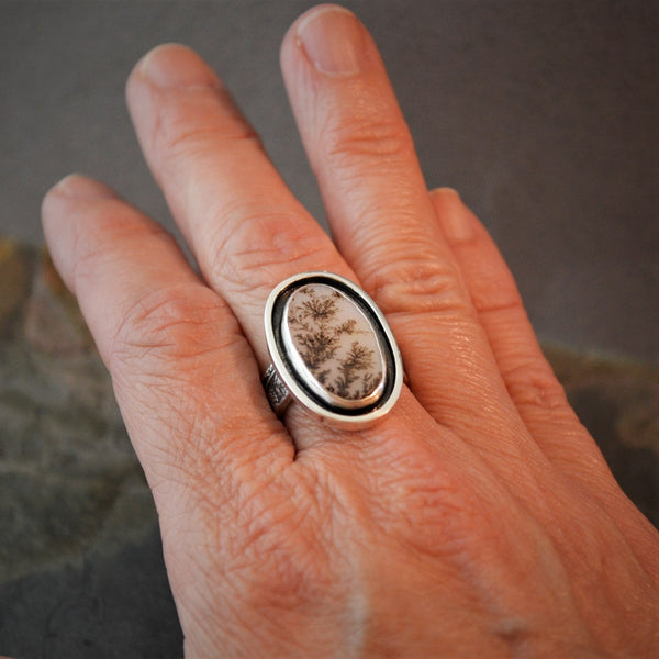 Fern Ring, Sterling Silver and Dendritic Agate Stone Jewelry, Size 8 - Gayle Dowell
