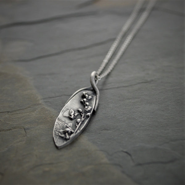 Wildflower Necklace, Tickclover Pendant from Prairies of Kansas, Artisan Jewelry - Gayle Dowell