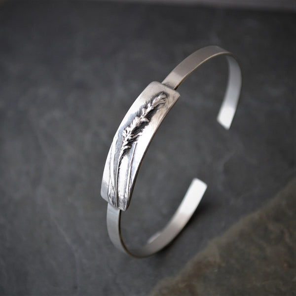 Thin Bracelet, Botanical Cuff, Prairie Foxtail Grass in Sterling Silver - Gayle Dowell