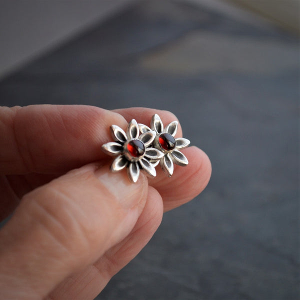 Garnet Stud Earrings, Daisy Earrings in Fine and Sterling Silver - Gayle Dowell