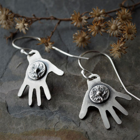 Hand Earrings, Picking Flowers, Picking Friends, Sterling Silver Asters - Gayle Dowell