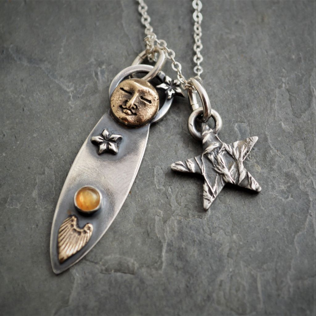Moon and Star Charm Necklace, Harvest Moon, Sterling and Bronze - Gayle Dowell