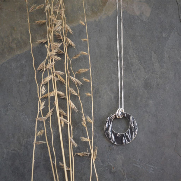 Hoop Necklace in Fine Silver, Side Oats Grama Grass Pendant - Gayle Dowell