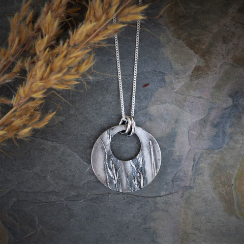 Hoop Necklace, Indiangrass Pendant, Prairie Jewelry in Fine Silver - Gayle Dowell