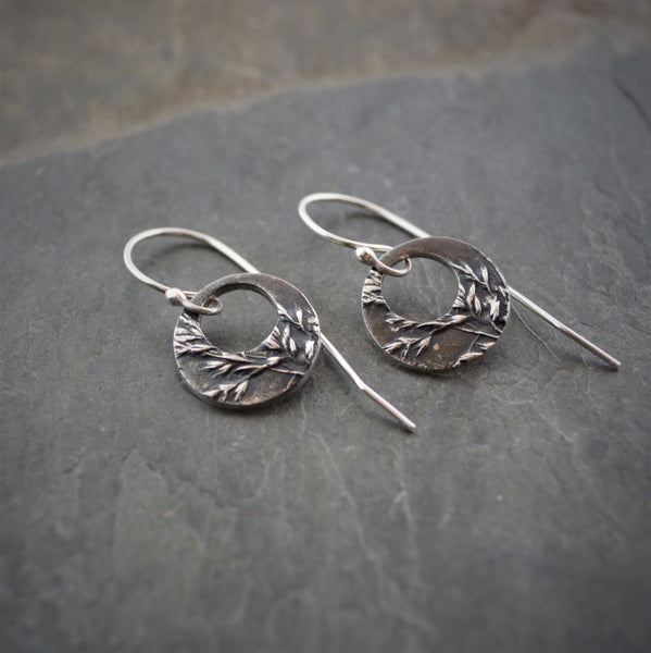 Fine Silver Hoop Earrings, Kentucky Bluegrass - Gayle Dowell