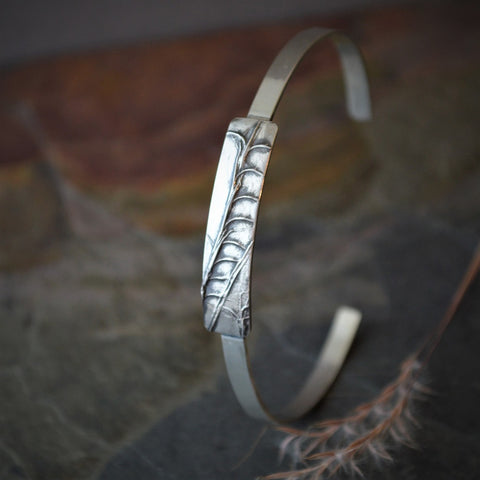Sterling Silver Bracelet, Little Bluestem Prairie Grass Cuff