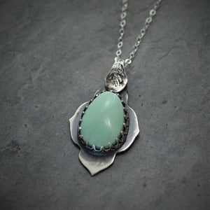 Mint Green Pendant, Variscite Gemstone Necklace in Sterling Silver with Fern Bail - Gayle Dowell