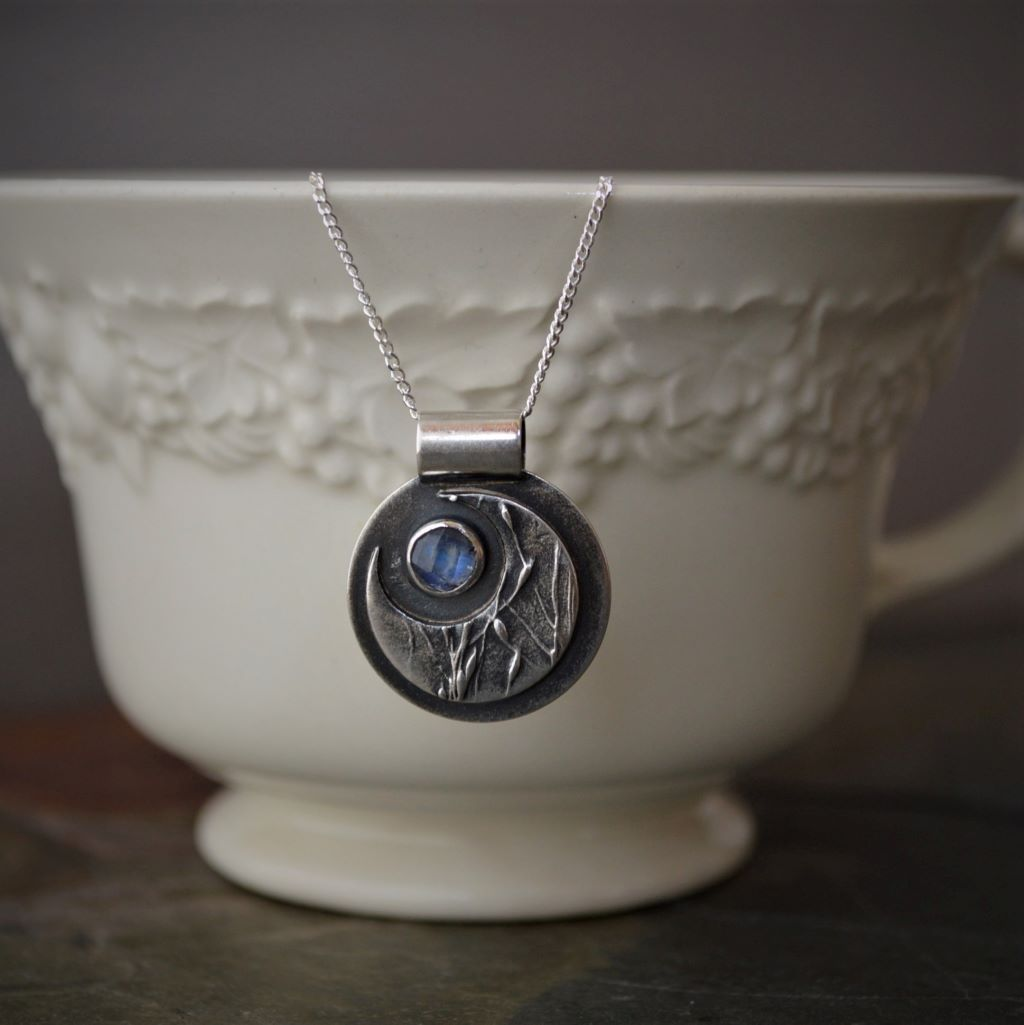 Silver Moon Necklace with Rainbow Moonstone - Gayle Dowell