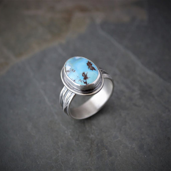 Natural Golden Hill Turquoise Ring with Little Blestem Prairie Grass Band, Size 8.5 - Gayle Dowell