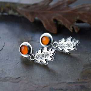 Oak Leaf Earrings, Sterling Silver and Baltic Amber - Gayle Dowell