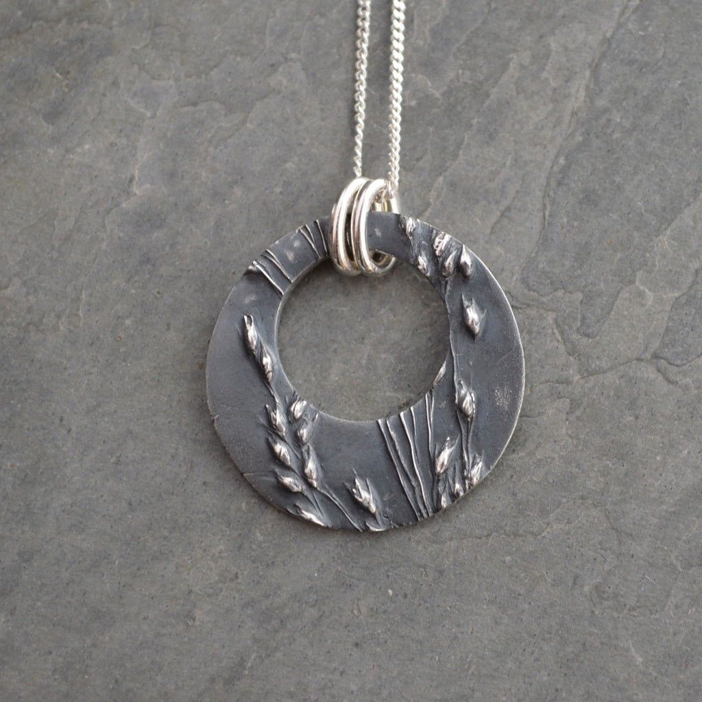 Offset Hoop Pendant in Fine Silver, Prairie Switchgrass Necklace - Gayle Dowell