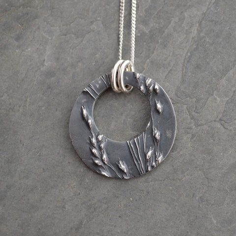 Offset Hoop Pendant in Fine Silver, Prairie Switchgrass Necklace