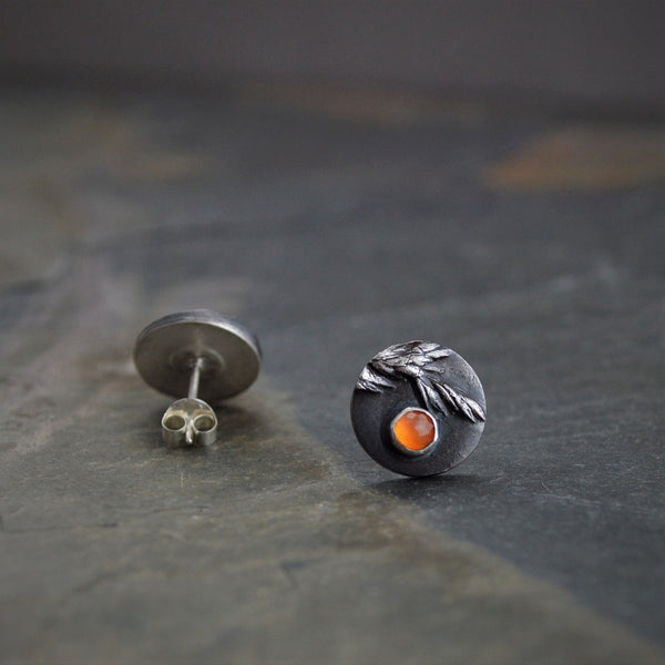 Ember, Stud Earrings, Sterling Silver and Orange Carnelian Gemstone - Gayle Dowell