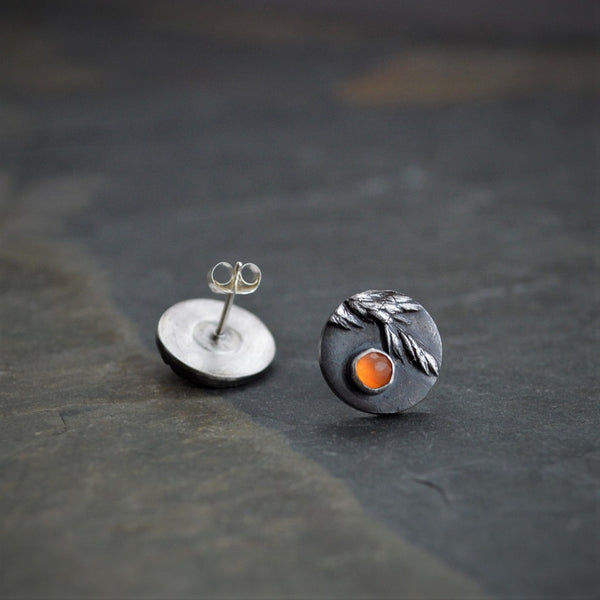 Ember, Stud Earrings, Sterling Silver and Orange Carnelian Gemstone