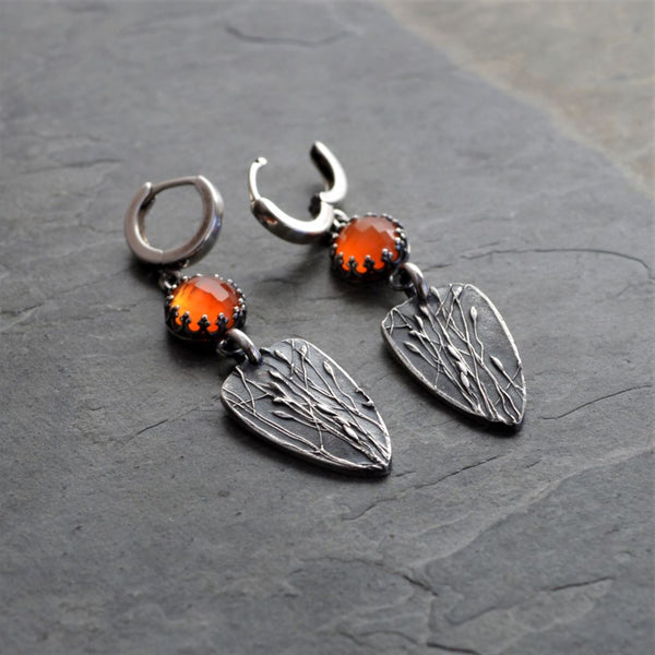 Orange Carnelian Earrings in Fine Silver from the Ember Jewelry Collection - Gayle Dowell