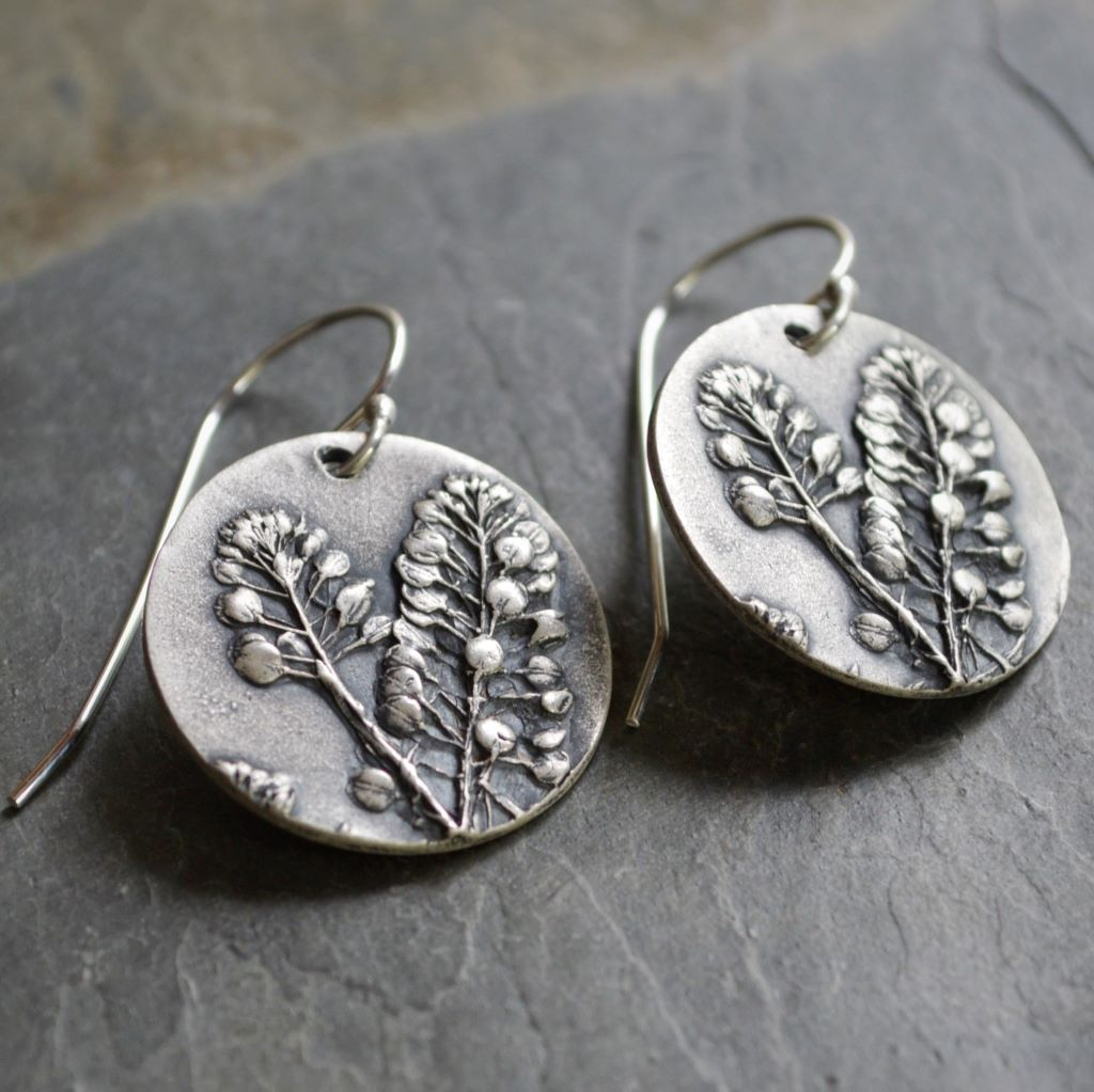 Statement Earrings in Fine Silver, Peppergrass - Gayle Dowell