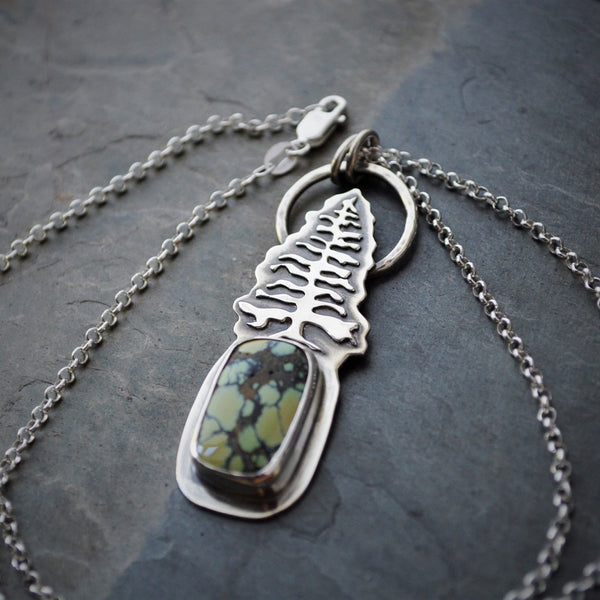 Tree Necklace in Sterling Silver with Natural New Lander Variscite - Gayle Dowell