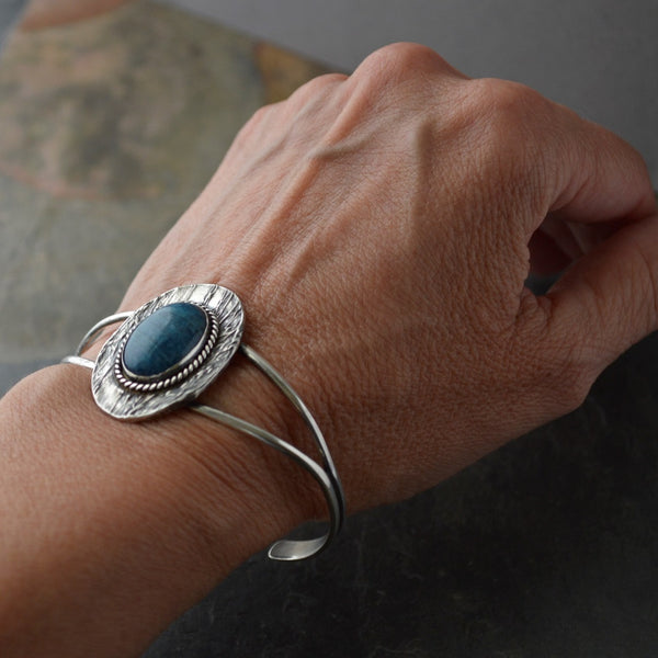 Botanical Cuff Bracelet, Prairie Ticklegrass in Sterling Silver with Blue Apatite Gemstone - Gayle Dowell