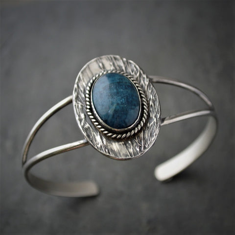 Botanical Cuff Bracelet, Prairie Ticklegrass in Sterling Silver with Blue Apatite Gemstone