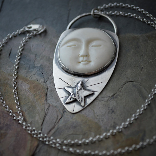 Star and Moon Necklace, Prairie Pendant, Celestial Jewelry - Gayle Dowell