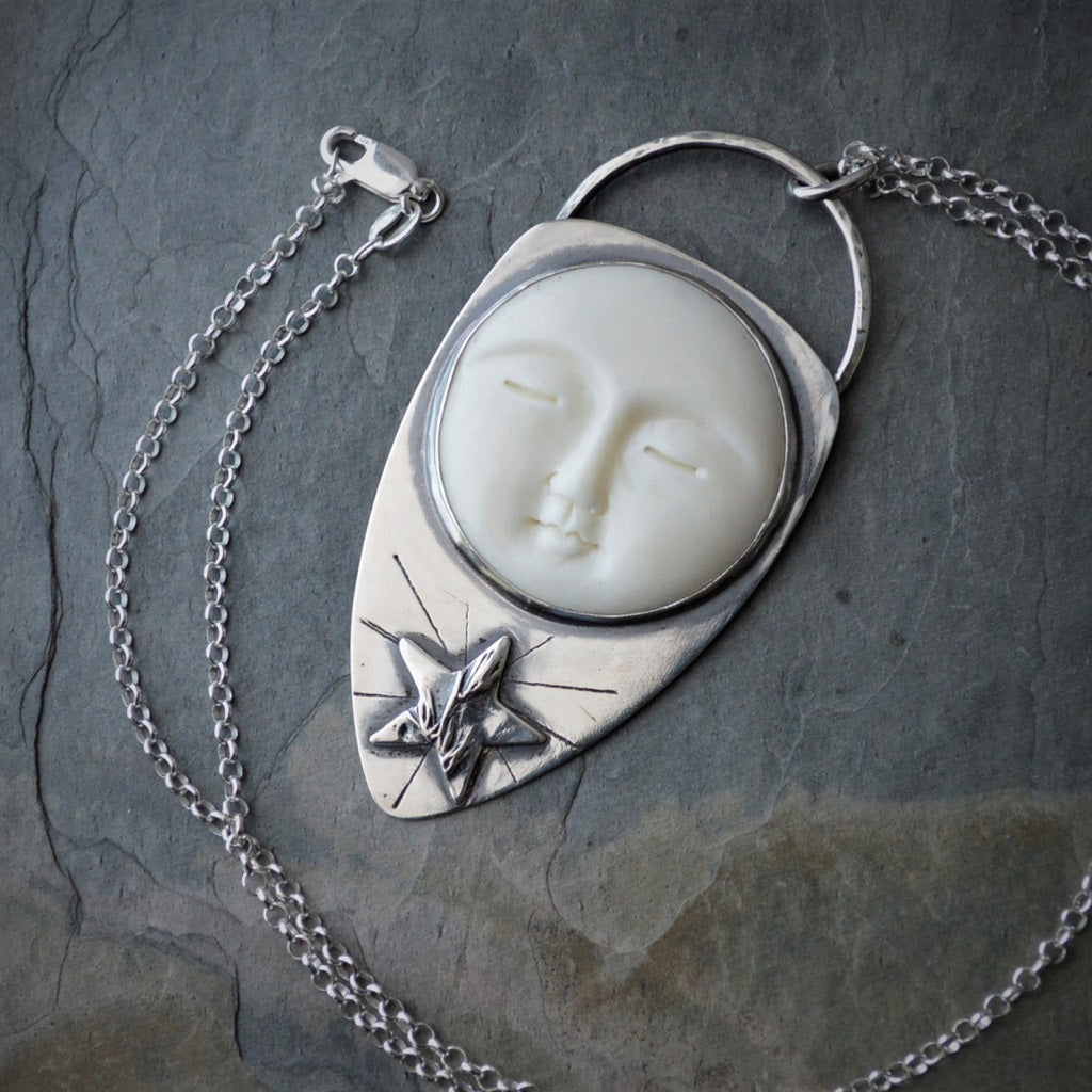 Star And Moon Necklace Prairie Pendant Celestial Jewelry Gayle Dowell