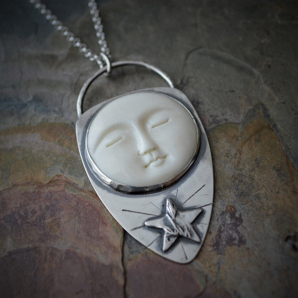 Star and Moon Necklace, Prairie Pendant, Celestial Jewelry