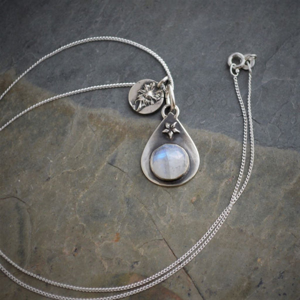 Rainbow Moonstone Charm Necklace, Aster Wildflower Pendant - Gayle Dowell