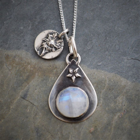 Rainbow Moonstone Charm Necklace, Aster Wildflower Pendant